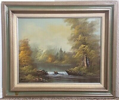 Waterfall Antique Oil Painting Landscape Framed Vintage