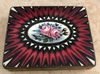 Art Deco Enamel Gold Guilloche Antique Large Box Compact Red Star Burst Roses Nr