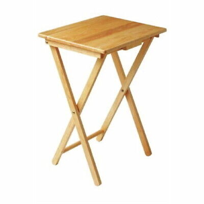 Folding Compact Wooden Table - 66 x 48 x 37cm - Snacks Garden Patio Chair Side
