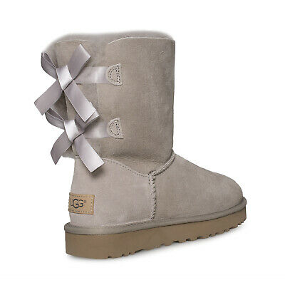 a20b0f0aed7 UGG AUSTRALIA WOMENS Oyster Selene Rope Bow Boot Suede Sheepskin ...