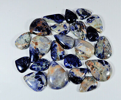 WOW!! 503Crt Natural Blue Sodalite Pear Cabochon Loose Gemstone 22Pcs Lot le641