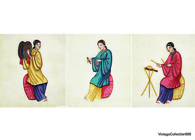 """3 Chinese paintings 19th century of musicians on rice paper, """"Tin-Sin"""" pith pape"""