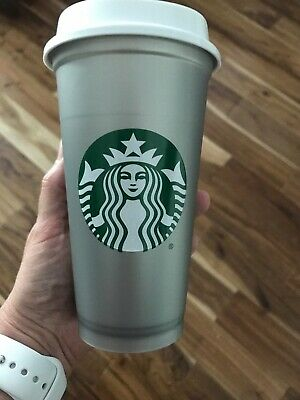 NEW Starbucks silver Reusable 16 Oz Christmas Holiday 2018 Cup - Hard to find
