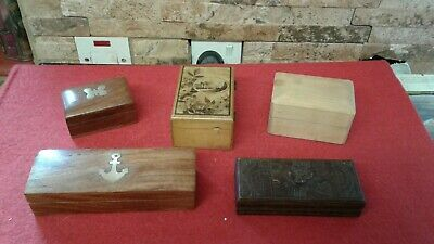 Antique  , Vintage  Collection Of 5 Wooden Box's  Vgc