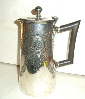 Nice Quality Antique Hukin & Heath Silver Plated Coffee Pot, Engraved Design