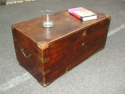 Antique brass bound camphorwood chest, early 19thC, great character coffee table