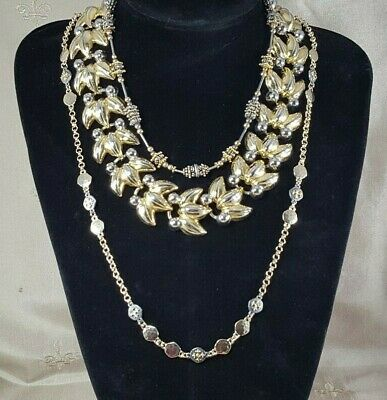 VINTAGE Two Tone Gold NECKLACES Lot of 3 CHUNKY Leaf & Berry, Medallion & ORNATE