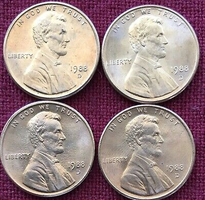 1988 D Lincoln Memorial Cent BU Penny US Coin - Lot Of 4.