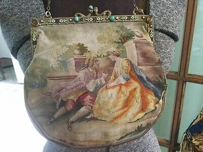 Antique French Aubusson petit point tapestry purse~bag w Enamel~stones in Frame