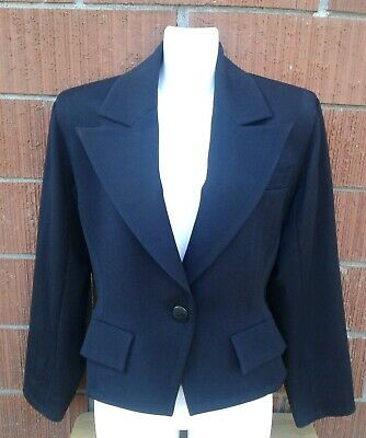88b7d41a1c0 Vintage Yves Saint Laurent Size 38 Jacket Black Wool Blazer padded  shoulders YSL