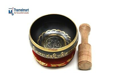 "3.73"" Tibetan Meditation Yoga Singing Bowl Set with Including  Mallet & Cushion"