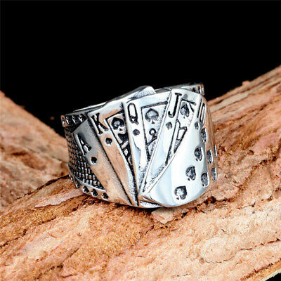 Men's Women Ancient silver Playing cards Rings Unique Design best gift Size 7