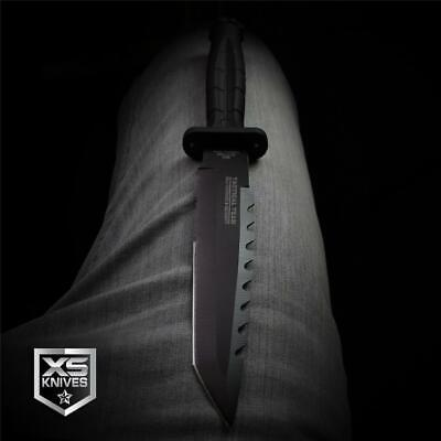 """Hunt-Down 11.75"""" BLACK Tactical Combat TANTO Survival DAGGER Hunting BOWIE Knife"""