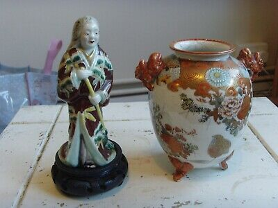 lovely nice japanese satsuma vase with sign under bottom and statue.