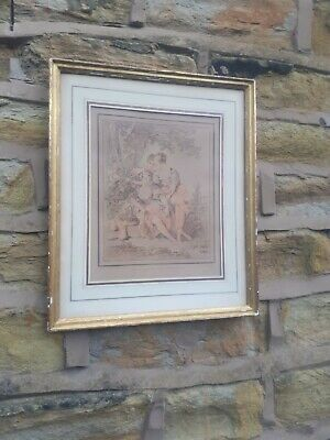 Vintage Antique French Picture Print Wall Art Gold Gilt Wood Frame Framed Gesso