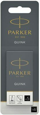 Parker Quink Permanent Ink Fountain Pen Refill Cartridges, 30 Black Ink Refills