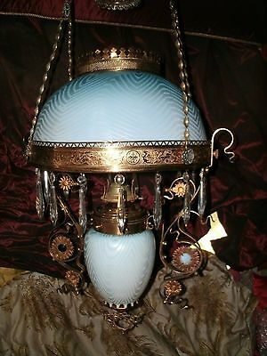 RARE! Herringbone hanging oil lamp blue mother pearl jewels dragons Victorian