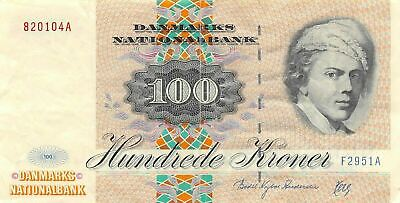 Denmark  100  Kroner 1995  P 54  Series  F - A  Circulated Banknote XLB
