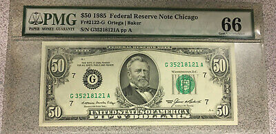 1985 $50 Fifty Dollar Bill Feder Reserve Note Chicago Graded PMG 66!