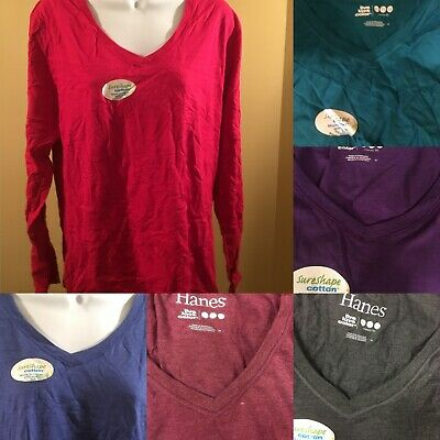 Hanes Women/'s Long-Sleeve V-Neck T-Shirt Tee 100/% Cotton Top Tag Free sz S-2XL