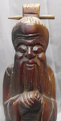 Vintage Hand Carved Wooden Chinese Imortal Figure Statue Wood Carving