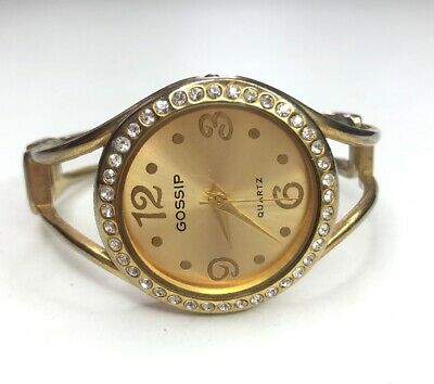 E Vtg Retro Gold Tone Japan Movt Quartz Hinged With Rhinestones Working