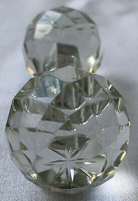Antique Cut Crystal Faceted Knife Rest Extra Large Heavy Elegant Glass Star Ends