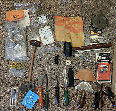 Vintage Leather Working Tools, Leather craft, knives, snap kits, grommet setters