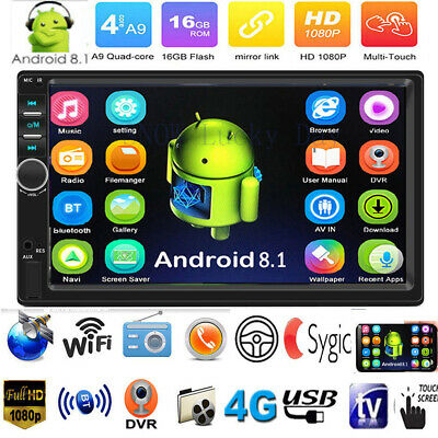 """7"""" 2Din Android 8.1 4-Core GPS Navi WiFi BT Car Stereo MP5 Player FM Radio AUX"""