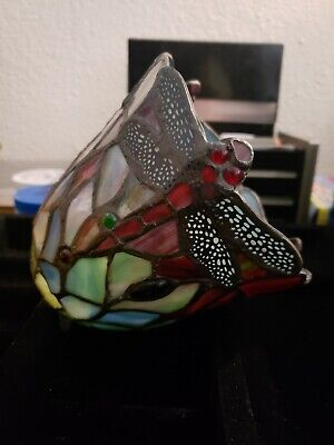 Vintage Tiffany Style Art Stained Glass DRAGONFLY Lamp Shade.