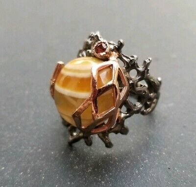Yellow Agate Stone with Garnet 925 Sterling Silver with Rhodium Ring Size 7 New