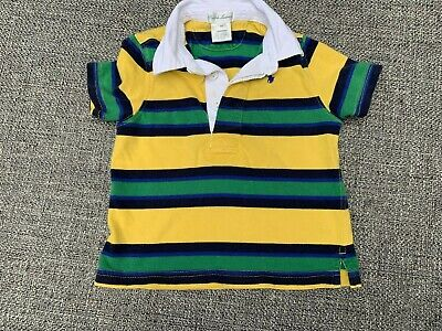 RALPH LAUREN Size 18 Month Toddler Boys Striped Polo Shirt Top w/ Pony