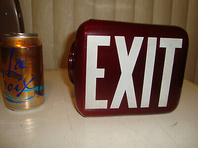 Exit Sign, Vintage Art Deco Ruby Red & White Glass Light Shade, Globe Triangle