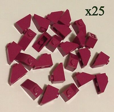 Lot of 25 Lego RED Roof Tiles 1x2 45° Angle Slope Brick