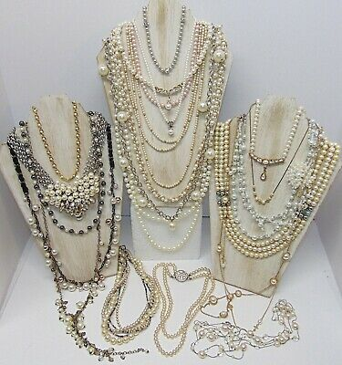Large Lot 22 Pc Vintage To Now Necklaces W/ Faux Pearls, Some With Rhinestones