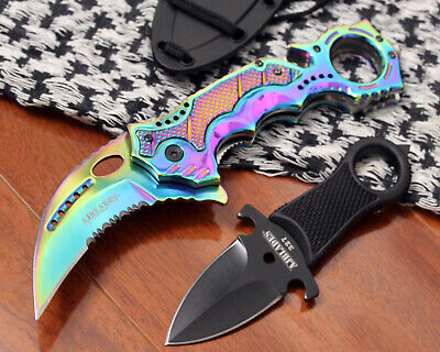 2 PC COMBO Tactical Combat Neck Knife & Spring Assisted Knife AJ504RB-AJ327