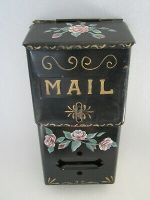 RARE Original Antique 1800's American Toleware Hand Painted Tin Mailbox