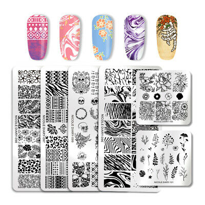 NICOLE DIARY Nail Stamping Plates Skull Geometry Flower Manicure Image Templates
