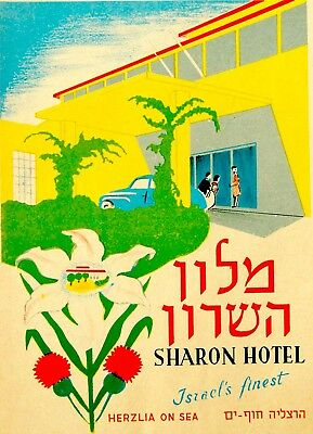 1954 Israel LITHOGRAPH HOTEL POSTER Advertising HERZLIA Jewish HERZL Judaica