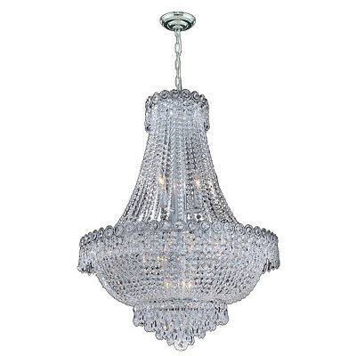 "SALE Empire 12 Light Chrome Crystal Chandelier 24"" D x 28"" Round Large"