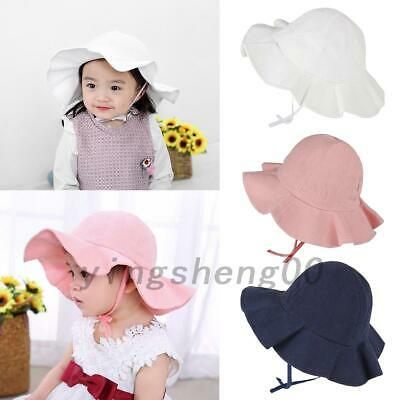 Baby Children Cotton Bucket Sun Hat Summer Beach Sun Cap For 0-4 Years AU