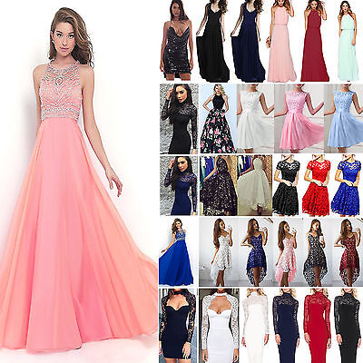 AU Women Formal Dress Wedding Evening Ball Gown Party Cocktail Prom Bridesmaid