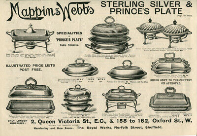1898 Print Ad Mappin & Webb's Silver Plate Breakfast Dinner Dishes Covers Stands