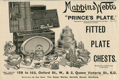 1898 Print Ad Mappin & Webb's Prince's Plate Cutlery Tableware