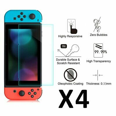 4x For Nintendo Switch Genuine 100% TEMPERED GLASS Screen Protector Cover Film