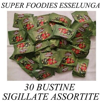 30 bustine super FOODIES esselunga sigillate assortite personaggi 3D carte gioco
