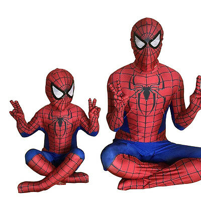 Spiderman Costume Adult Kids Cosplay Mask Spandex Superhero Jumpsuit Fancy Dress