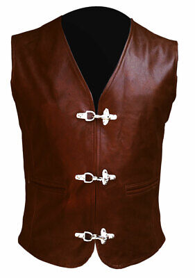 Mens Bikers Vest Genuine Cow Leather Brown Waistcoat with Chrome Hooks
