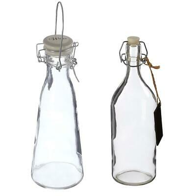 Clear Glass Storage Bottles For Water | Wine |Vinegar With Top Clip and Lid