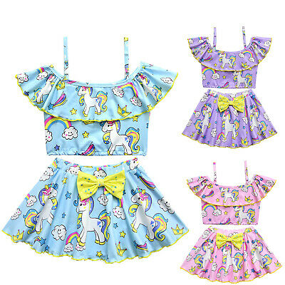 2Pcs Kid Girls Off Shoulder Tops+Mini Skirt Unicorn Swimwear Bikini Set Swimsuit